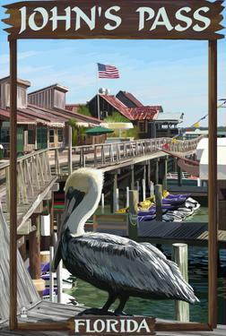 John's Pass, Florida - Pelican and Dock by Lantern Press