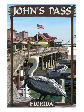 John's Pass, Florida - Pelican and Dock by Lantern Press