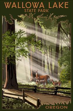 Joseph, Oregon - Deer and Fawns by Lantern Press