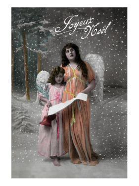 Joyeux Noel - Merry Christmas in French, Little Girl Carols with Angel by Lantern Press