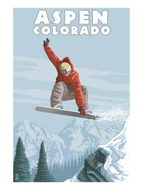 Jumping Snowboarder - Aspen, Colorado by Lantern Press