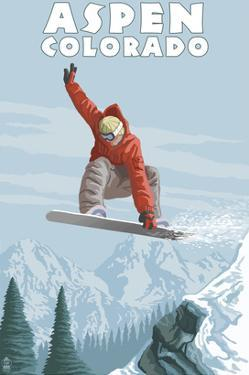 Jumping Snowboarder - Aspen, Colorado by Lantern Press