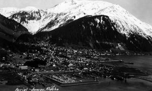 Juneau, Alaska - Aerial View of Town by Lantern Press