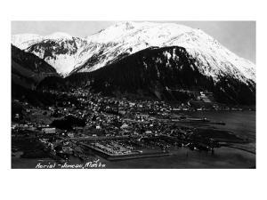 Juneau, Alaska - Aerial View of Town by Lantern Press
