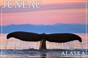 Juneau, Alaska - Humpback Fluke and Sunset by Lantern Press