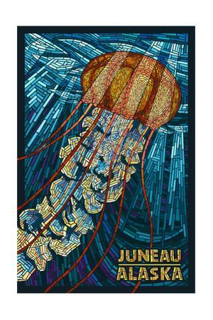 Juneau, Alaska - Jellyfish Mosaic by Lantern Press