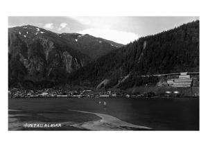 Juneau, Alaska - Panoramic View of Town from Water by Lantern Press