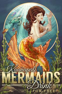 Kaanapali, Hawaii - Mermaids Drink for Free by Lantern Press