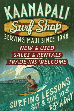 Kaanapali, Hawaii - Surf Shop Vintage Sign by Lantern Press