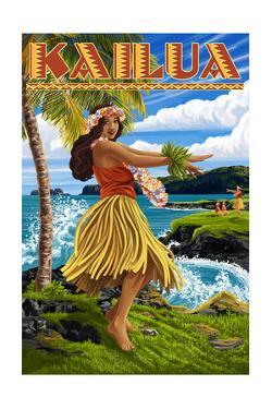 Kailua, Hawaii - Hula Girl on Coast by Lantern Press
