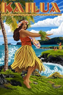 Kailua, Hawaii - Hula Girl on Coast by Lantern Press