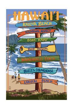Kailua, Hawaii - Kailua Beach Sign Destination by Lantern Press