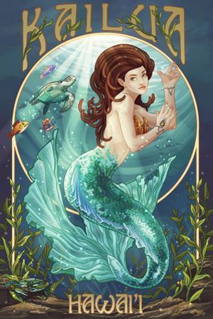 Kailua, Hawaii - Mermaid (Blue Tail) by Lantern Press