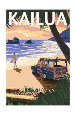 Kailua, Hawaii - Woody on Beach by Lantern Press