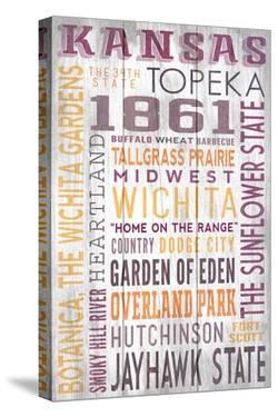 Kansas - Barnwood Typography by Lantern Press