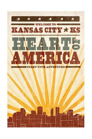 Kansas City, Kansas - Skyline and Sunburst Screenprint Style