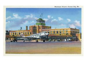 Kansas City, Missouri - Exterior View of Municipal Airport by Lantern Press