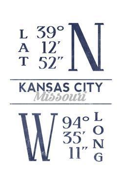 Kansas City, Missouri - Latitude and Longitude (Blue) by Lantern Press
