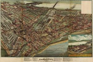 Kansas City, Missouri - Panoramic Map by Lantern Press
