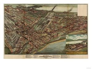 Kansas City, Missouri - Panoramic Map by Lantern Press
