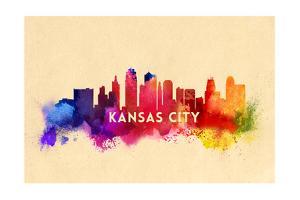 Kansas City, Missouri - Skyline Abstract by Lantern Press