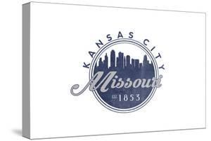 Kansas City, Missouri - Skyline Seal (Blue) by Lantern Press