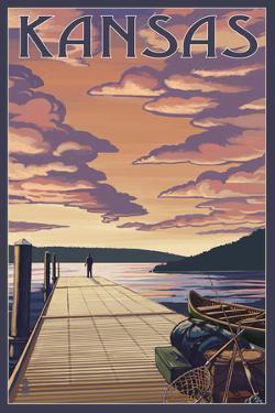 Kansas - Dock Scene and Lake by Lantern Press