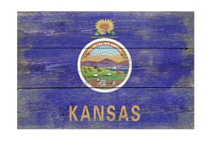 Kansas State Flag - Barnwood Painting by Lantern Press