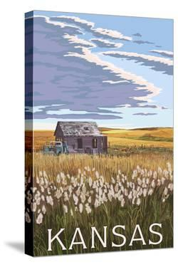 Kansas - Wheat Fields and Homestead by Lantern Press