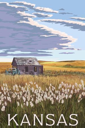 Kansas - Wheat Fields and Homestead