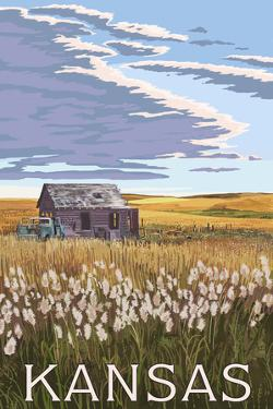 Kansas - Wheat Fields and Homestead by Lantern Press