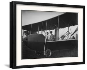 Katharine Wright with Orville in Model HS Plane Photograph - Kitty Hawk, NC by Lantern Press