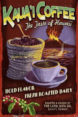 Kauai Coffee Vintage Sign - Kauai, Hawaii by Lantern Press