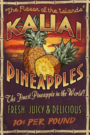 Kauai, Hawaii - PIneapple Vintage Sign by Lantern Press