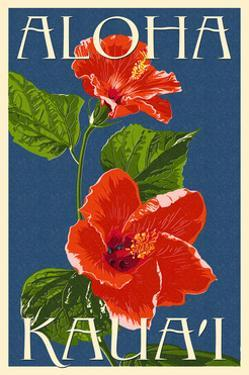 Kauai, Hawaii - Red Hibiscus by Lantern Press
