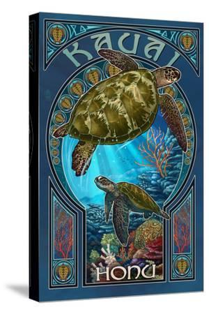 Kauai, Hawaii - Sea Turtle Art Nouveau by Lantern Press