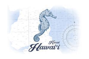 Kauai, Hawaii - Seahorse - Blue - Coastal Icon by Lantern Press
