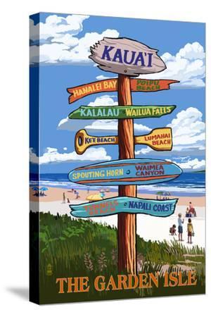 Kauai, Hawaii - the Garden Isle Destination Signpost by Lantern Press