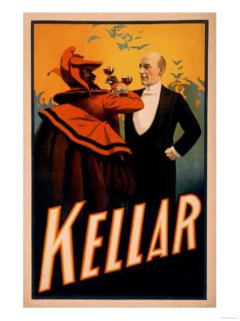 Kellar Magician Drinking Wine with the Devil Magic Poster by Lantern Press