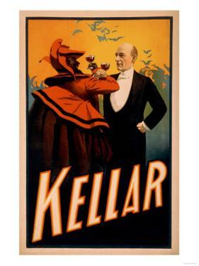 Kellar Magician Drinking Wine with the Devil Magic Poster by Lantern Press