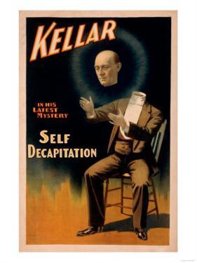 Kellar performing Self Decapitation Magic Poster by Lantern Press