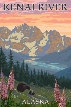 Kenai River, Alaska - Bear Family and Flowers by Lantern Press