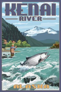 Kenai River, Alaska - Salmon Fisherman by Lantern Press