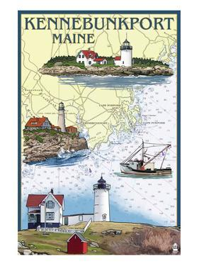 Kennebunkport, Maine - Nautical Chart by Lantern Press