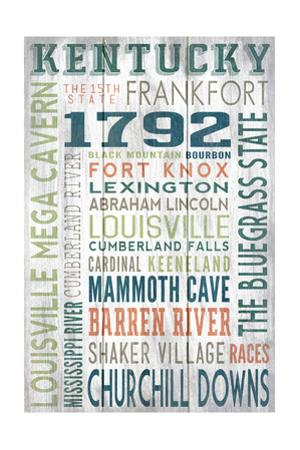 Kentucky - Barnwood Typography by Lantern Press