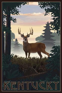 Kentucky - Deer and Sunrise by Lantern Press