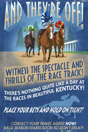 Kentucky - Horse Racing Vintage Sign by Lantern Press