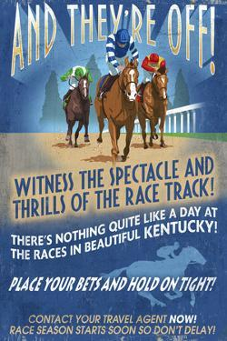Kentucky - Horse Racing Vintage Sign by Lantern Press