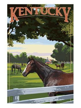 Kentucky - Thoroughbred Horses Farm Scene by Lantern Press