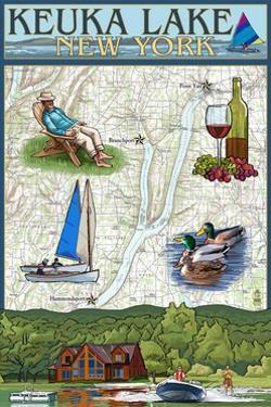 Keuka Lake, New York - Nautical Chart by Lantern Press
